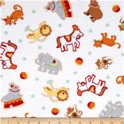 Flannel Circus Animals White