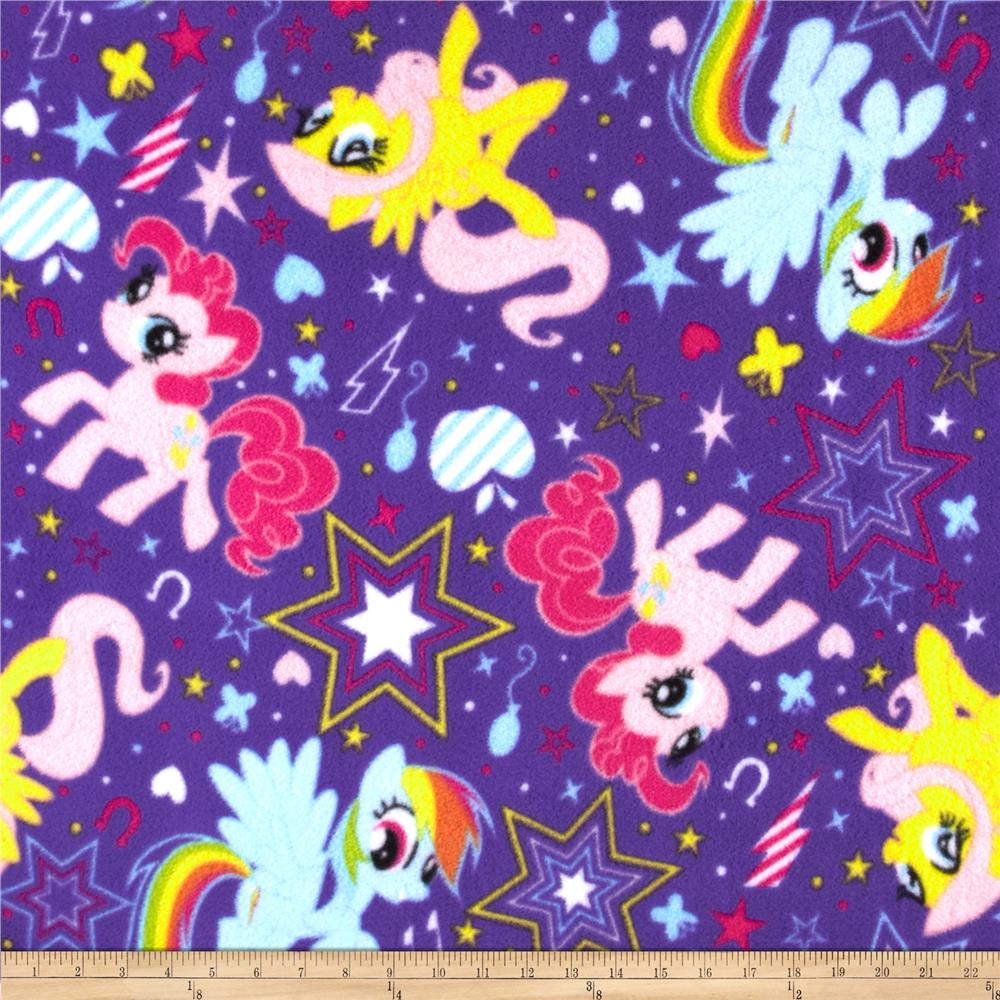 Hasbro My Little Pony Traditional Fleece Pony Cutie Power Toss Purple Fabric By The Yard