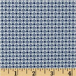 Downton Abbey Lady Mary Daisy Geo Blue Fabric