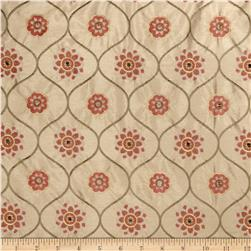 Jaclyn Smith Embroidered Quatrefoil Terracotta