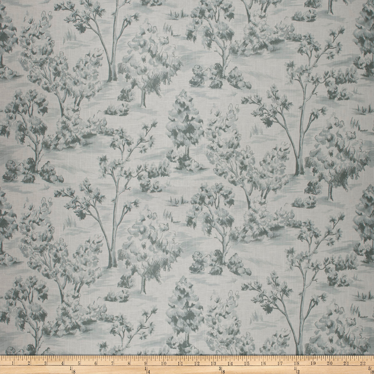 French General Arbe Toile Linen Blend La Mer Fabric