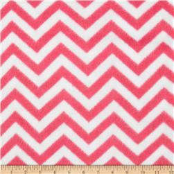Fleece Chevron Bubble Gum/White Fabric
