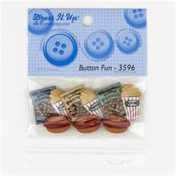 Dress It Up Embellishment Buttons  Peanuts Popcorn Hotdogs