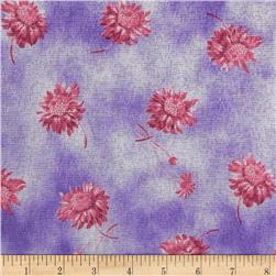 Stretch Sheer Knit Flowers Purple