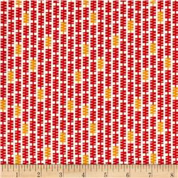 Zig Zag Stripe White/Red/Orange Fabric