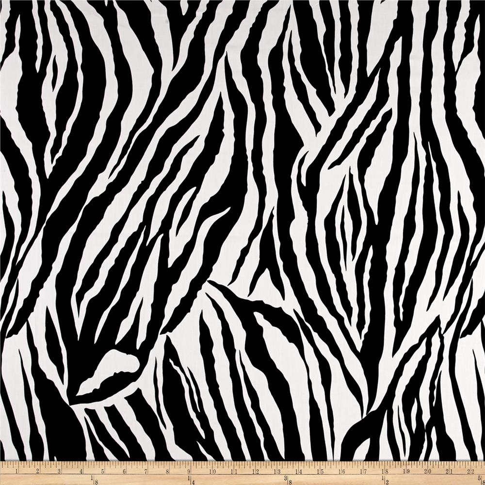 Stretch Poplin Print Zebra Black/White