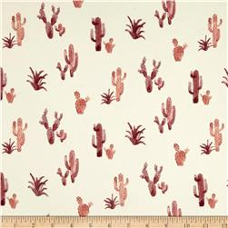 Double Brushed Poly Spandex Jersey Knit Cacti Ivory/Burgundy