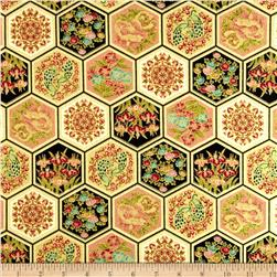 Asian Fanfare Hexi Patchwork Multi
