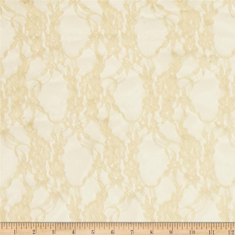 Stretch Summer Floral Lace Ivory