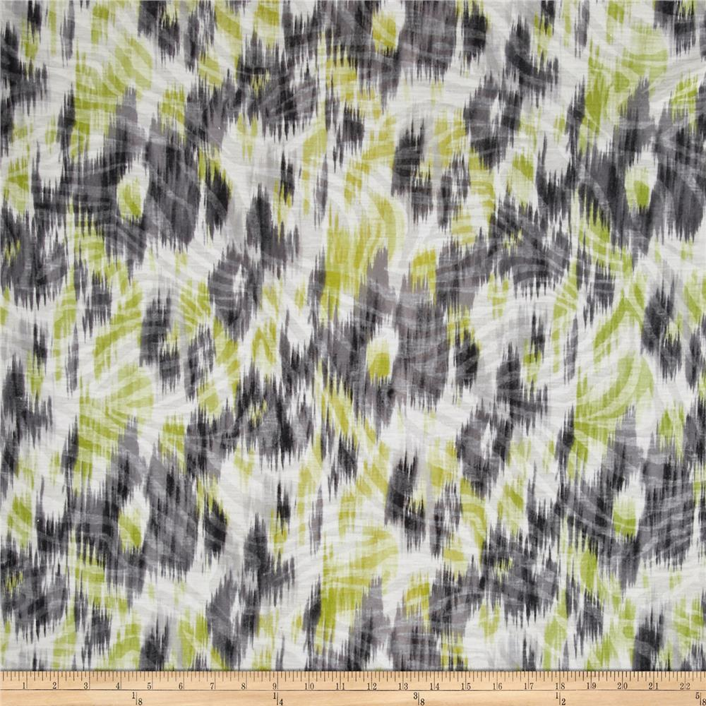 Jersey Knit Abstract Yellow and Gray Maze Fabric