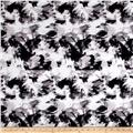 Telio Bloom Stretch Sateen Brush Strokes Print Black
