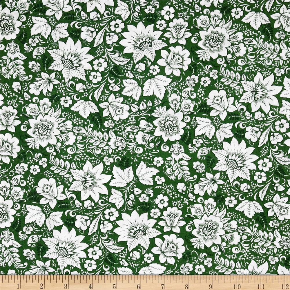 Season's Greetings Floral Green