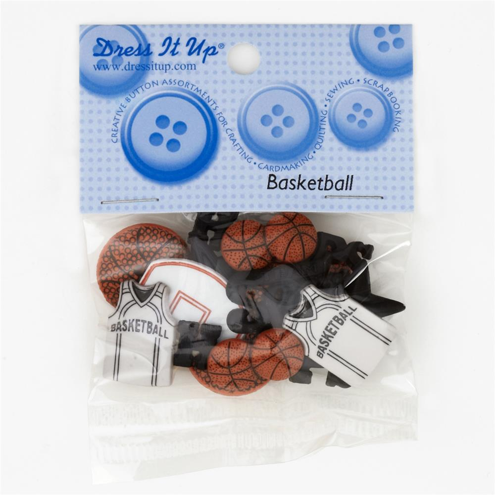 Dress It Up Embellishment Buttons  Basketball