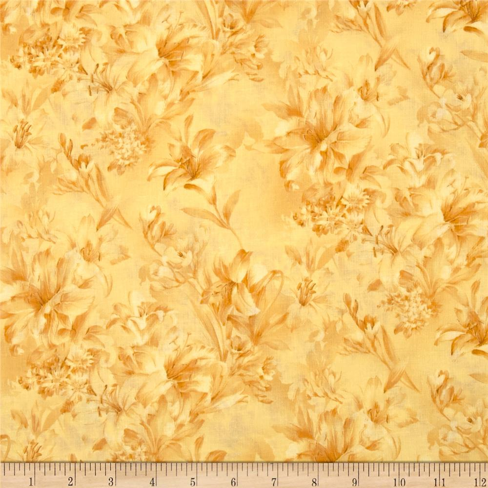 "118"" Wide Day Lily Quilt Backing Floral Yellow"