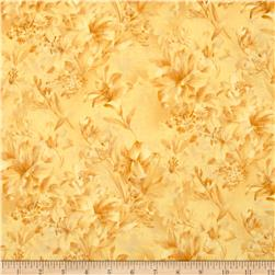118'' Wide Day Lily Quilt Backing Floral Yellow