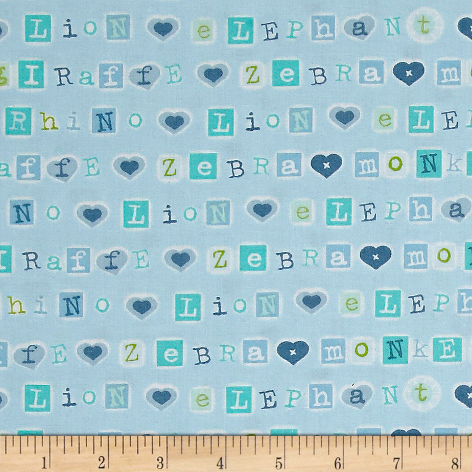 Patchwork Pals Letters Blue Fabric by A. E. Nathan in USA