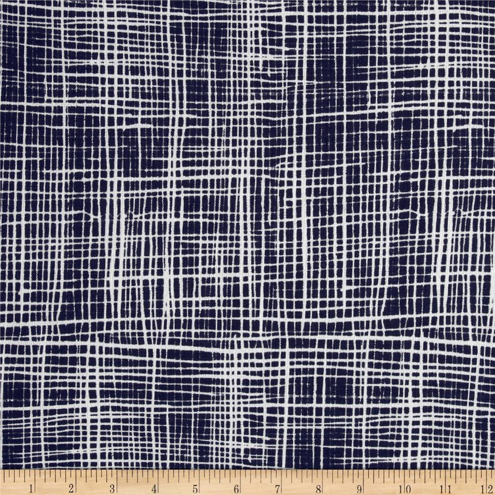 Tahiti Woven Polyester Lines Navy/White