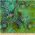 Embroidered Indian Batik Floral Green/Aqua