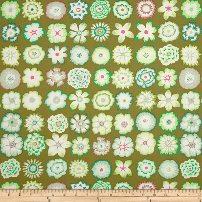 Kaffe Fassett Collective Button Flowers Green Fabric By The Yard