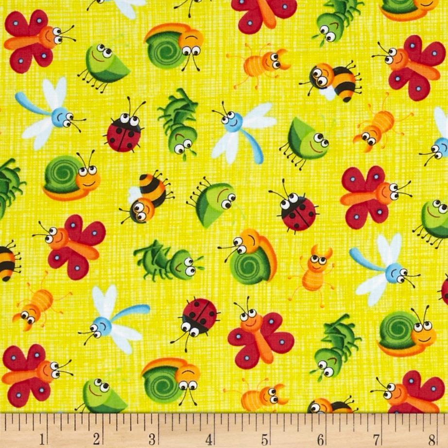 Timeless Treasures Bugs on Sketch Yellow