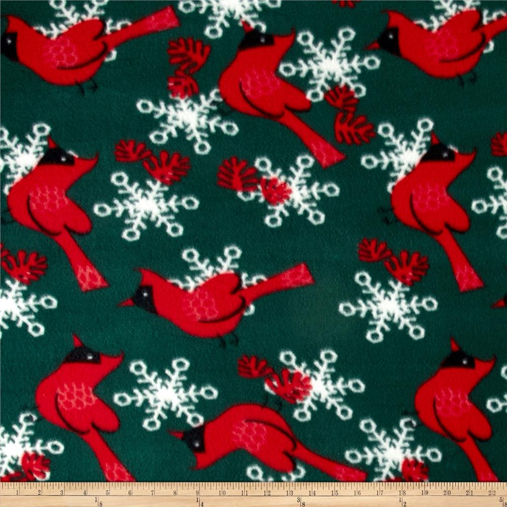 Printed Fleece Red Robin Snowflake Red/Green