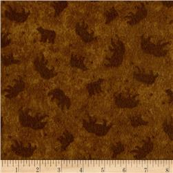 Lodge Life Flannel Bears Dark Gold
