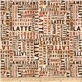 Timeless Treasures Cafe Au Lait Coffee Words Tan