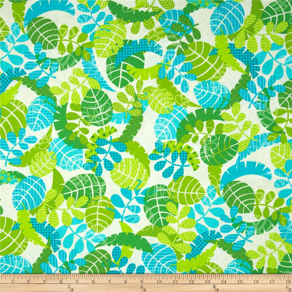 Kanvas Monkeying Around Tropical Leaf White/Lime