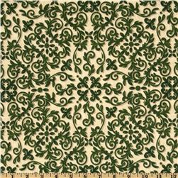 Windham 12 Days of Christmas Scroll Green/Tan