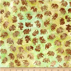 Michael Miller Batiks Celedon Little Elephants Sage