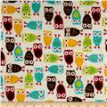 Kaufman Minky Cuddle Night Owl Red/Mango