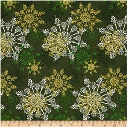Season's Greetings Large Snowflakes Green