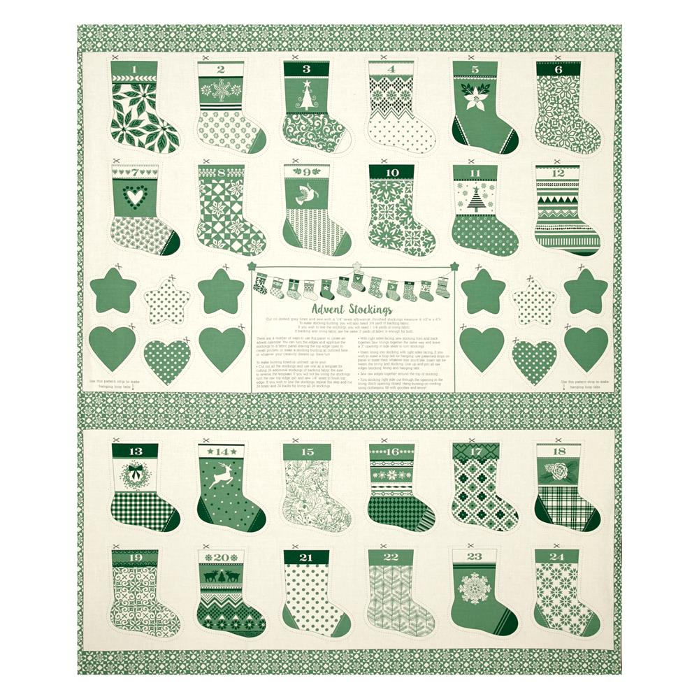 "Moda Merry Merry Advent Stockings 36"" Panel Spruce"