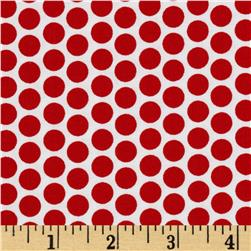 Riley Blake Honeycomb Reversed Dot White/Red Fabric