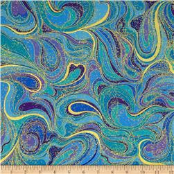 Timeless Treasures Palazzo Metallic Abstract Swirls Peacock