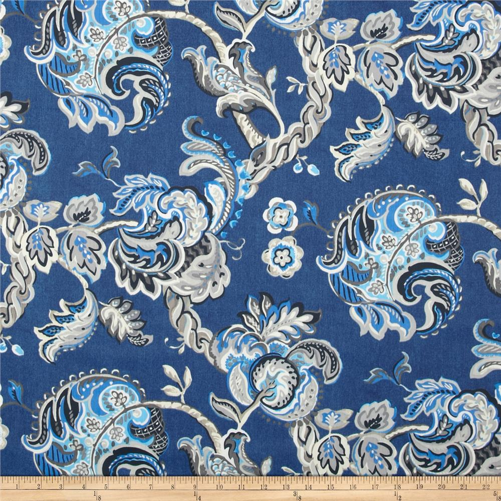 Waverly summer canvas chintz indigo discount designer for Chintz fabric