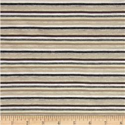Stretch Jersey Knit Yarn Dye Stripes Brown/Grey