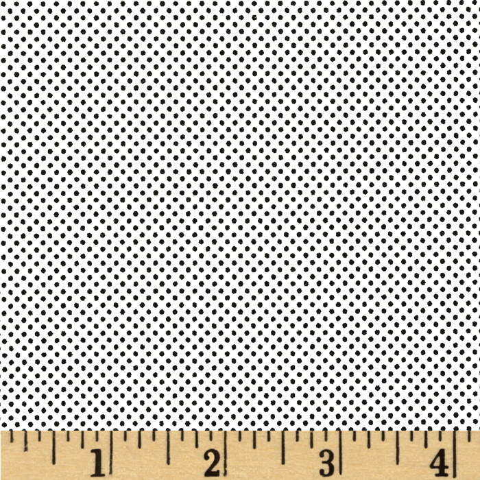 Moda Dottie Tiny Dots White/Jet Black Fabric