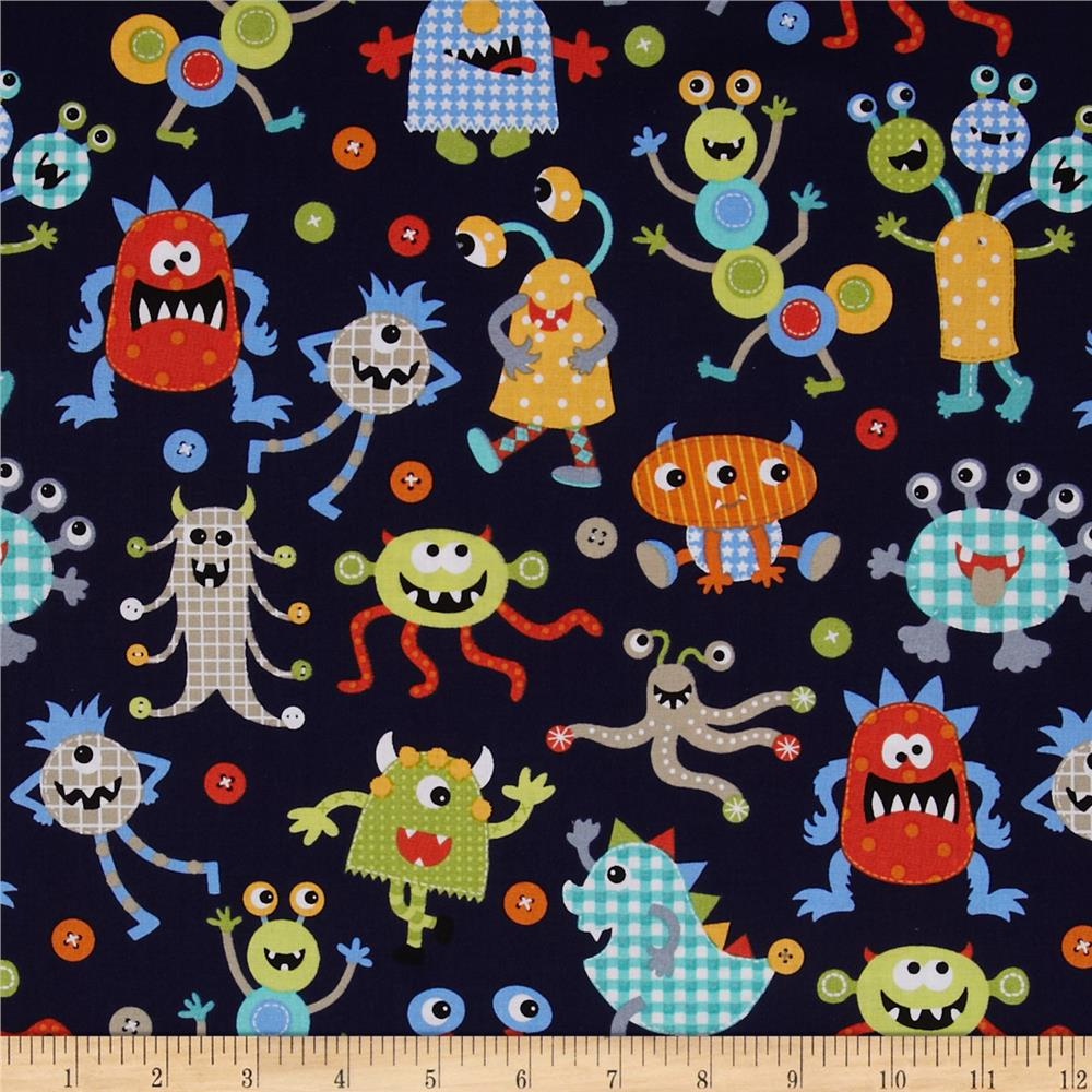 Michael miller it 39 s a boy thing monster mash navy for Kids pattern fabric