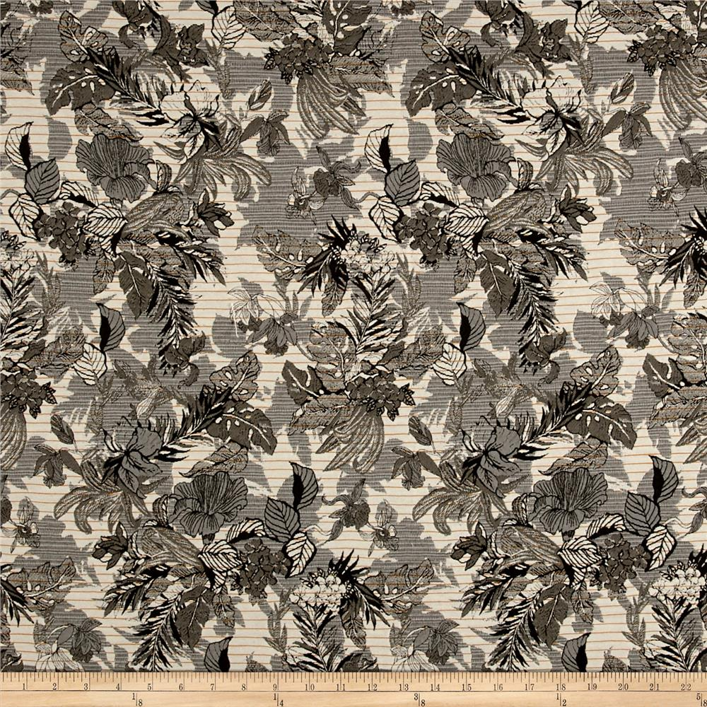 French Reversible Tropical Floral Jacquard Olive/Gray/Mustard/White Fabric