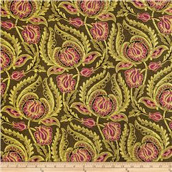 Metallic Brocade Tulips Magenta