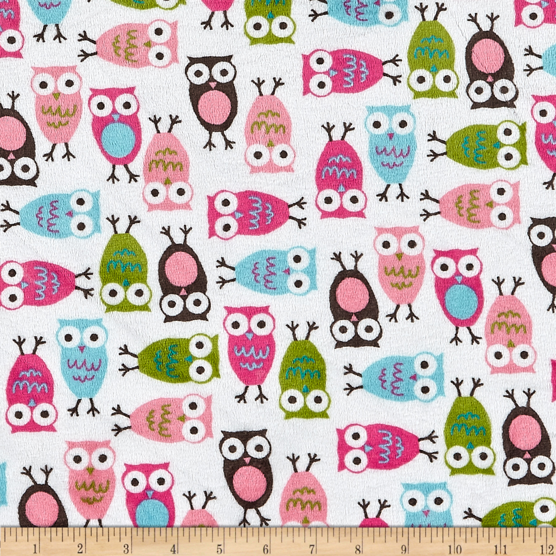 Minky Cuddle Urban Zoologie Night Owl Fuchsia Fabric