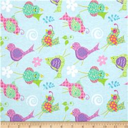 Tossed Birds Flannel Blue/Multi Fabric