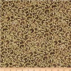 Esmeralda Metallic Scroll Stone Brown
