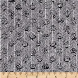 Kokka Trefle Flowers Double Gauze Gray