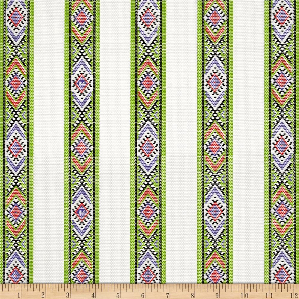 Ink & Arrow Indian Paintbrush Indian Blanket Stripe Light Gray Fabric