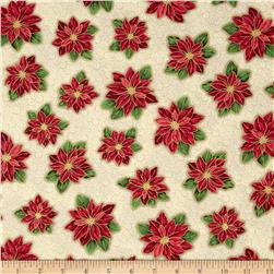Christmas Star Tossed Poinsettia Cream Fabric