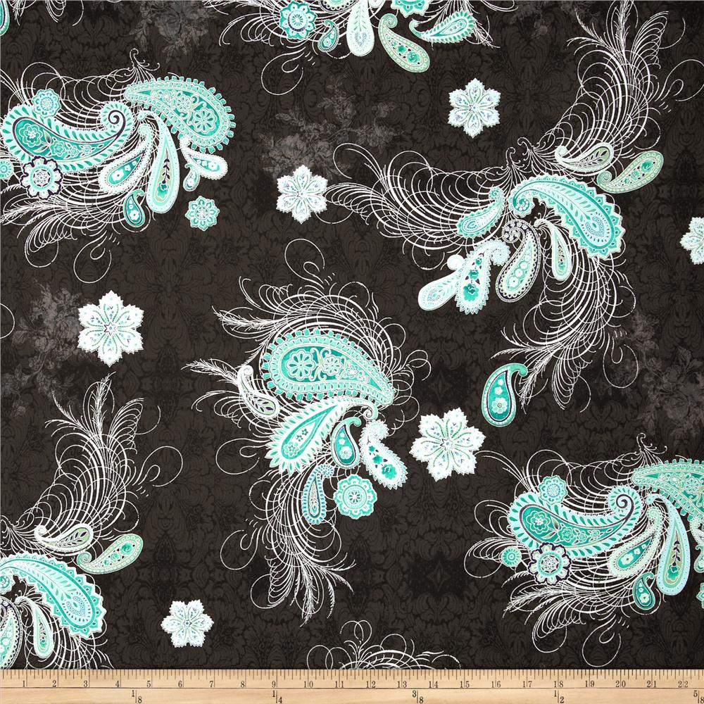 Paisley Peacock Metallic Paisley Feather Black/Silver