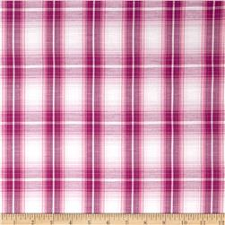Stretch Yarn Dyed Plaid Shirting Fucshia/White