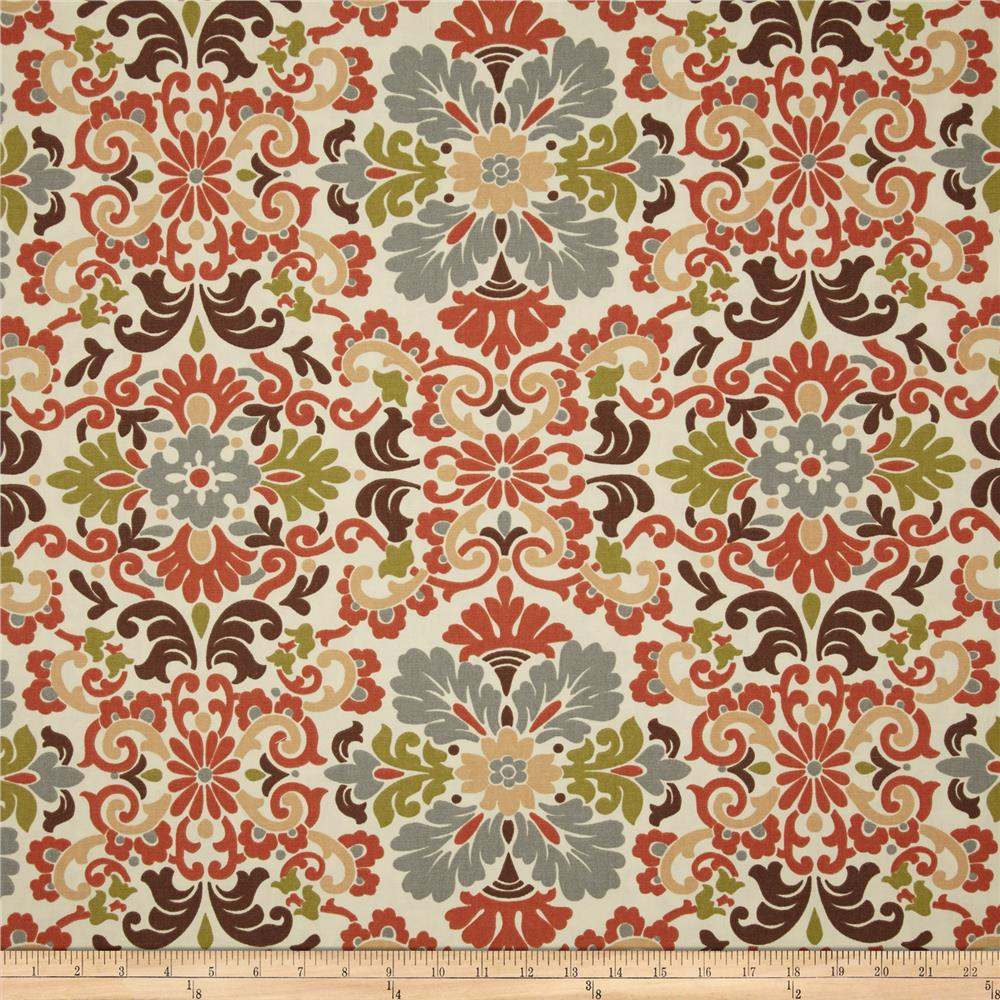 Waverly Folk Damask Terracotta